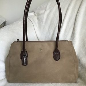 April Cornell Large suede bag with leather…
